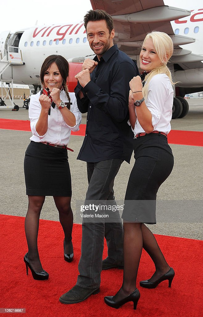 """Virgin America Unveils DreamWorks Pictures' """"Real Steel"""" Plane With Hugh Jackman : News Photo"""