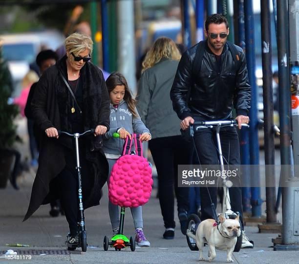 Actor Hugh Jackman Ava Eliot Jackman and DeborraLee Furness are seen in the West Village on October 21 2013 in New York City
