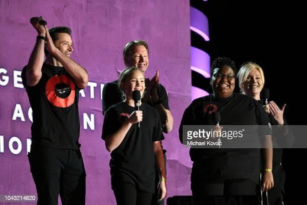 Actor Hugh Jackman CEO of Verizon Hans Vestberg Verizon Innovative Learning students Chelsie McClease and Nakia Woody and actress Deborralee Furness...
