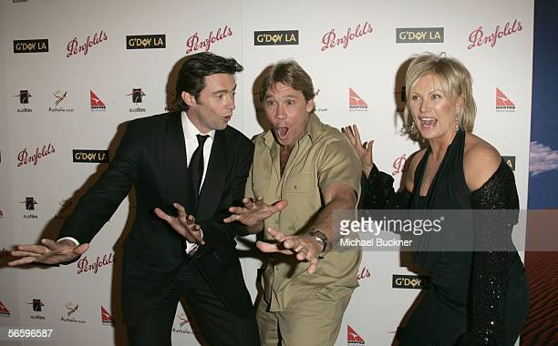 Actor Hugh Jackman, crocodile hunter Steve Irwin and actress Deborra-Lee Furness arrive at the Penfolds Icon Gala presented by G'Day La: Australia...