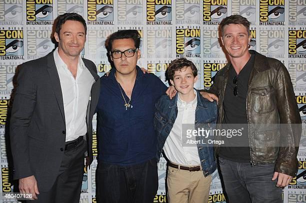 Actor Hugh Jackman director Joe Wright actors Levi Miller and Garrett Hedlund attend the Warner Bros 'Pan' presentation during ComicCon International...