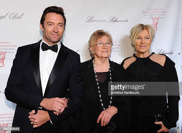 Actor Hugh Jackman Faye Duncan and DeborraLee Furness attend Gabrielle's Angel Foundation Hosts Angel Ball 2013 at Cipriani Wall Street on October 29...