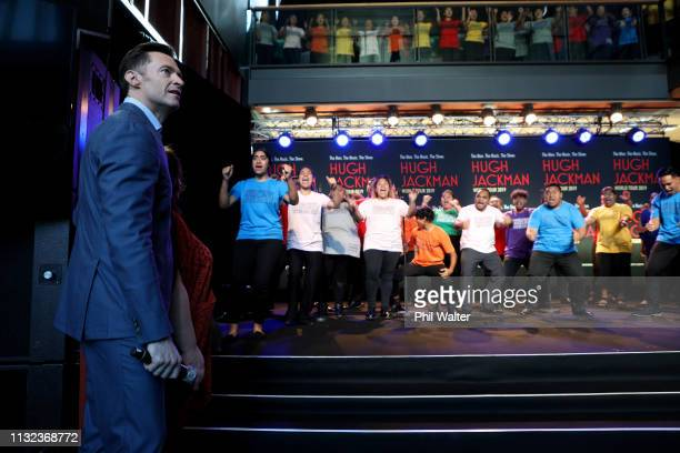 Actor Hugh Jackman is given a haka from students from AUT's South Campus on February 27 2019 in Auckland New Zealand Hugh Jackman has confirmed he is...