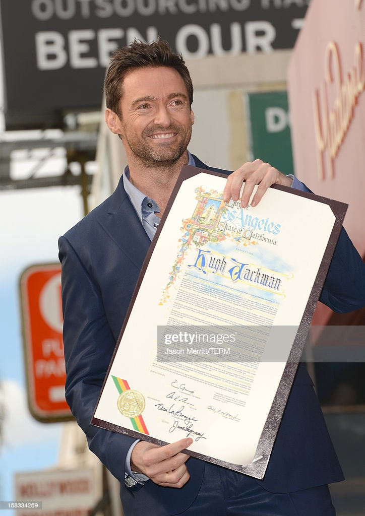 Actor Hugh Jackman is honored with a star on The Hollywood Walk Of Fame on December 13, 2012 in Hollywood, California.