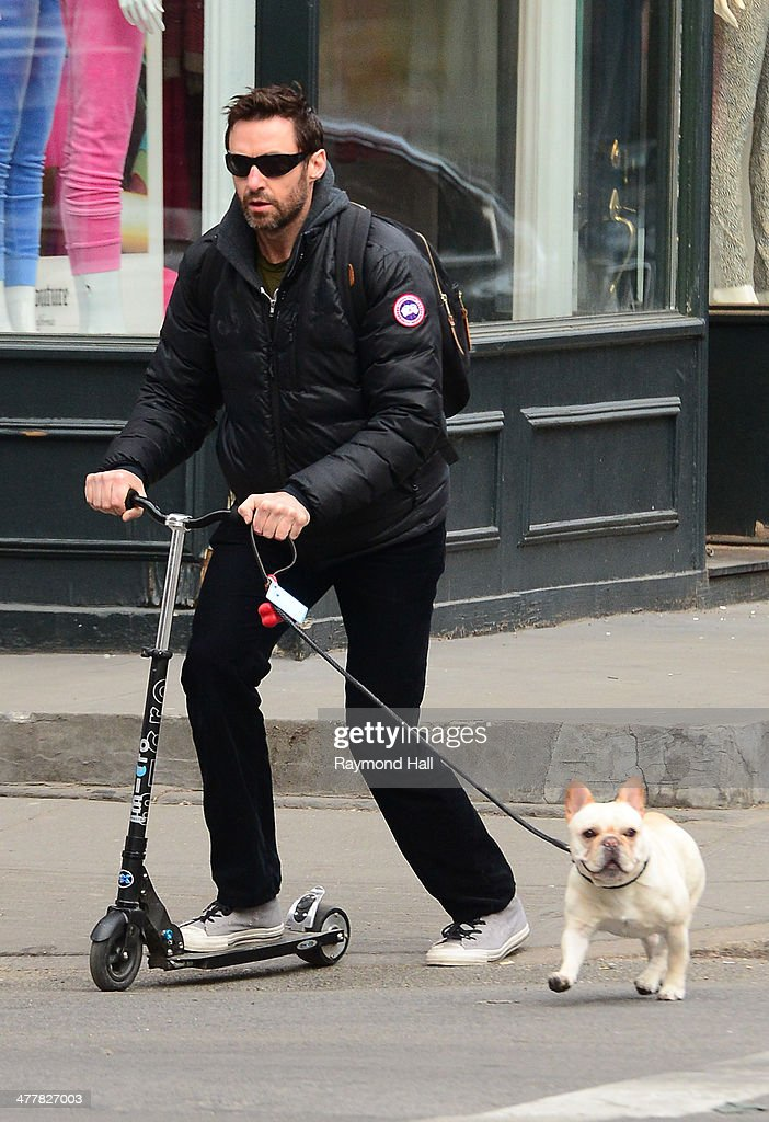 Actor Hugh Jackman is seen on his scooter in Soho on March 11, 2014 in New York City.