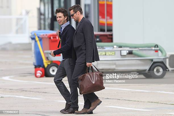 Actor Hugh Jackman is sighted at 'Le Bourget' airport on September 7, 2011 in Paris, France.