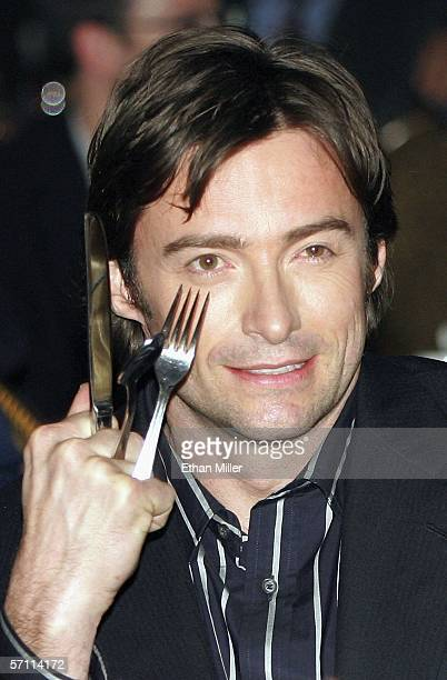 Actor Hugh Jackman jokes about his Wolverine character in the audience during the final banquet and awards ceremony for ShoWest 2006 the official...