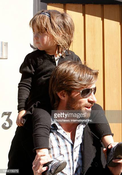 Actor Hugh Jackman pictured with daughter Ava visit the Darling Point home of actress Nicole Kidman and Keith Urban to meet their newborn child...