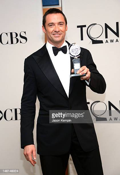 Actor Hugh Jackman poses in the 66th Annual Tony Awards press room at The Beacon Theatre on June 10 2012 in New York City