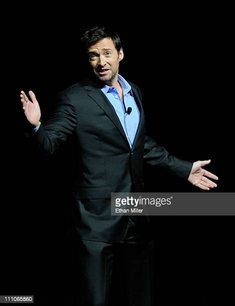Actor Hugh Jackman promotes his upcoming DreamWorks Studios film Real Steel at The Colosseum at Caesars Palace during CinemaCon the official...
