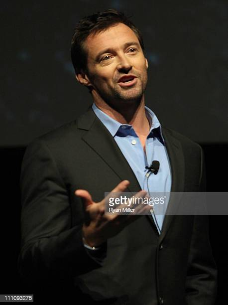 Actor Hugh Jackman promotes his upcoming DreamWorks Studios film 'Real Steel' during CinemaCon the official convention of the National Association of...