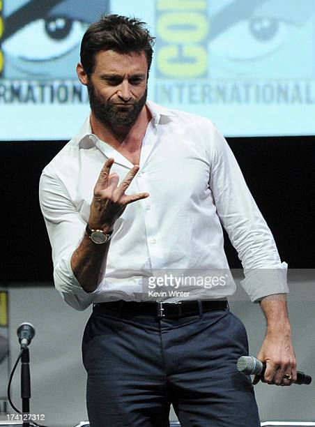 """Actor Hugh Jackman speaks at the 20th Century Fox """"X-Men: Days of Future Past"""" panel during Comic-Con International 2013 at San Diego Convention..."""
