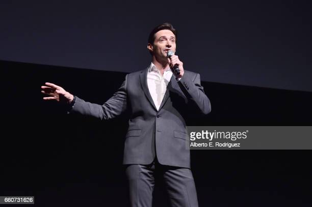 Actor Hugh Jackman speaks onstage at CinemaCon 2017 20th Century Fox Invites You to a Special Presentation Highlighting Its Future Release Schedule...