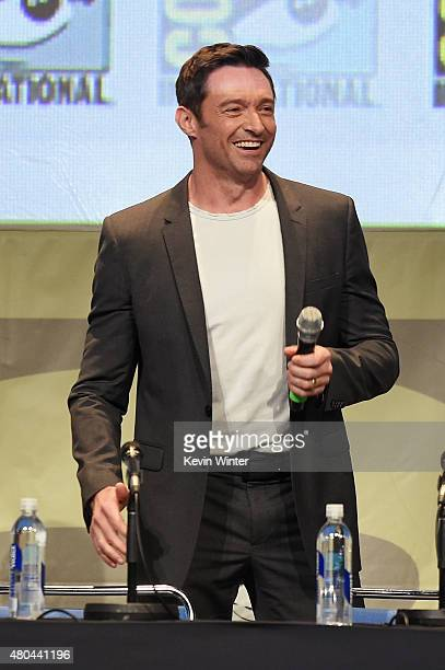 Actor Hugh Jackman speaks onstage at the 20th Century FOX panel during ComicCon International 2015 at the San Diego Convention Center on July 11 2015...