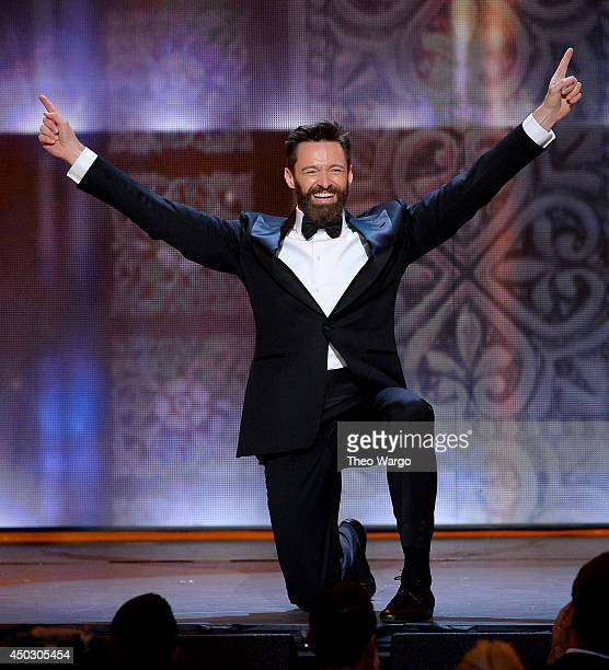 Actor Hugh Jackman speaks onstage during the 68th Annual Tony Awards at Radio City Music Hall on June 8 2014 in New York City