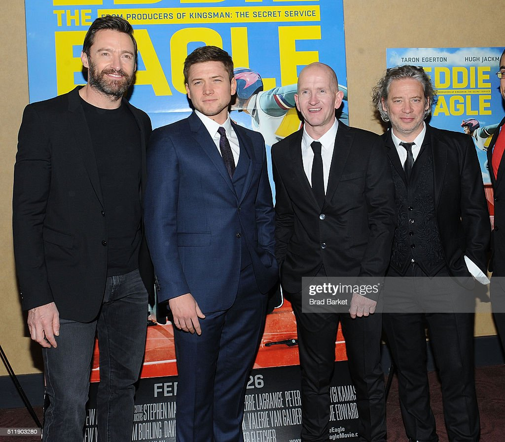 Actor Hugh Jackman, Taron Egerton, Eddie Edwards, and Dexter Fletcher attend the 'Eddie The Eagle' New York Screening at Chelsea Bow Tie Cinemas on February 23, 2016 in New York City.