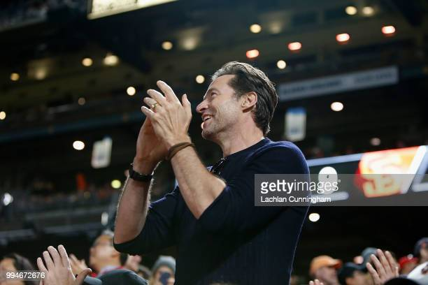 Actor Hugh Jackman watches the game between the St Louis Cardinals and the San Francisco Giants at ATT Park on July 5 2018 in San Francisco California