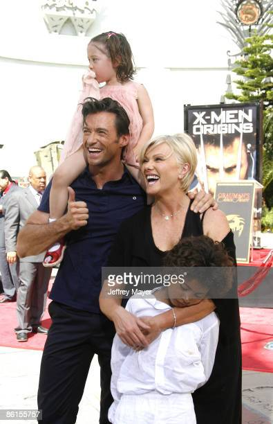 Actor Hugh Jackman wife Deborra Lee Furness children Oscar and Ava attend the handprint and footprint ceremony honoring Hugh Jackman at the Grauman's...