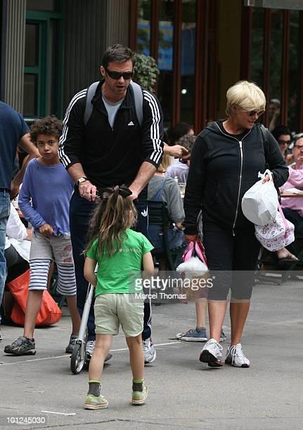 Actor Hugh Jackman wife Deborrah Lee Furness son Oscar Maximillian Jackman and daughter Ava Jackman are seen leaving Bar Pitti restaurant in the west...