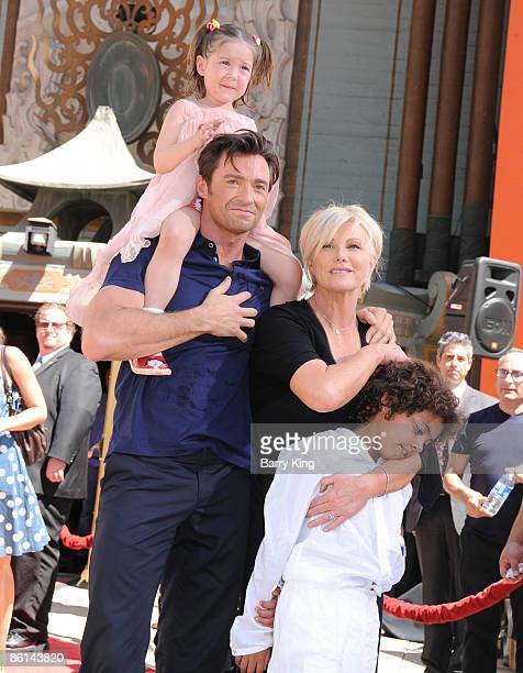 Actor Hugh Jackman, wife Deborra-Lee Furness and their children Ava Jackman and Oscar Jackman attend the handprint and footprint ceremony honoring...