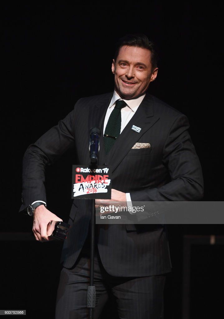 Actor Hugh Jackman, winner of the Best Actor award, on stage during the Rakuten TV EMPIRE Awards 2018 at The Roundhouse on March 18, 2018 in London, England.