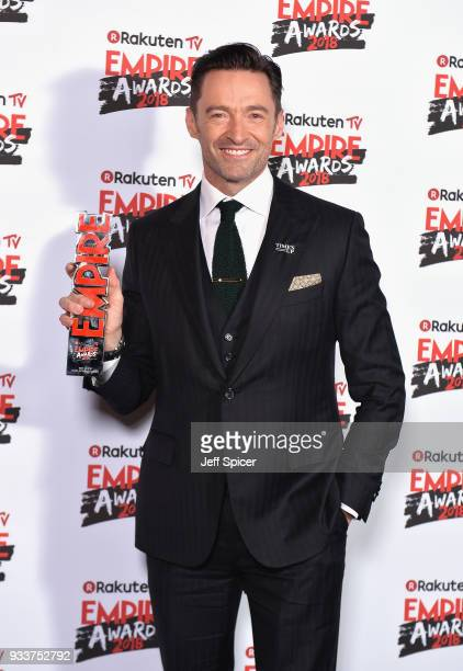 Actor Hugh Jackman winner of the Best Actor award poses in the winners room at the Rakuten TV EMPIRE Awards 2018 at The Roundhouse on March 18 2018...