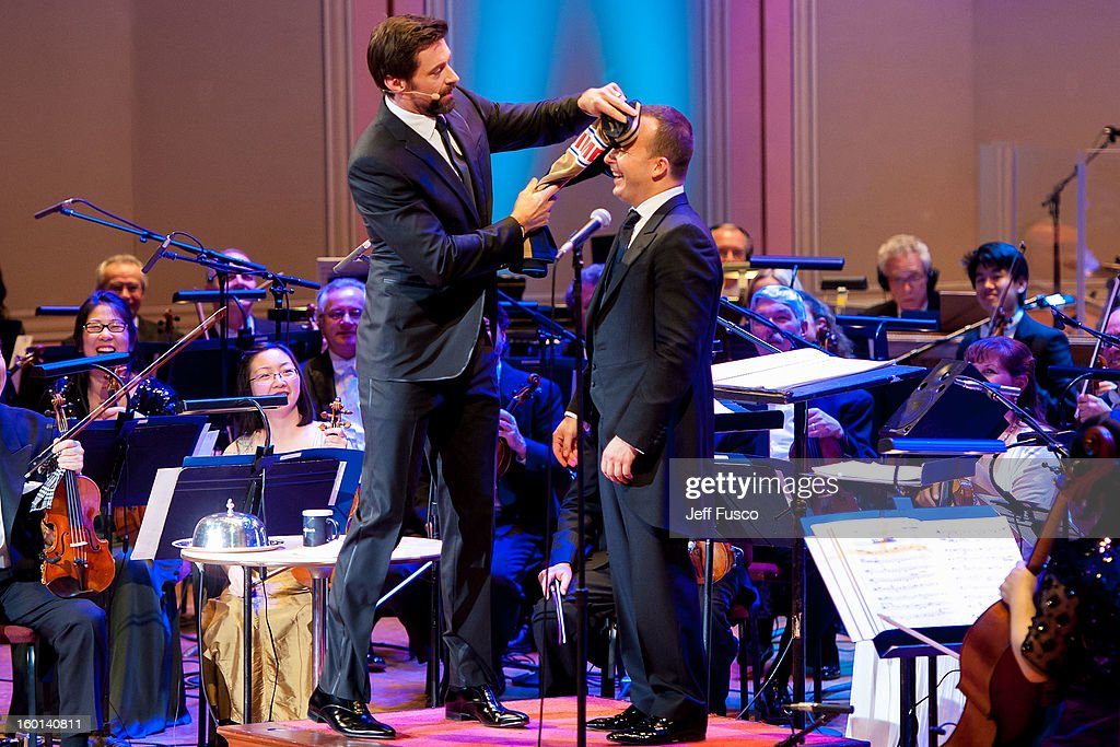 Actor Hugh Jackman (L) with Philadelphia Orchestra Music Director Yannick Nézet-Séguin at the Academy of Music's 156th Anniversary Concert at the Academy of Music on January 26, 2013 in Philadelphia, Pennsylvania.