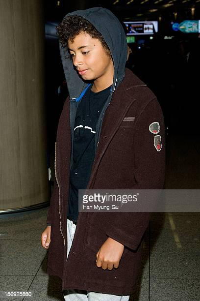 Actor Hugh Jackman's son Oscar Maximillian Jackman is seen upon arrival at Incheon International Airport on November 25 2012 in Incheon South Korea