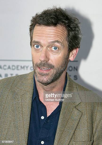 Actor Hugh Laurie arrives at the Evening With House presented by ATAS at the Academy of Television Arts and Sciences on April 17 2006 in Los Angeles...