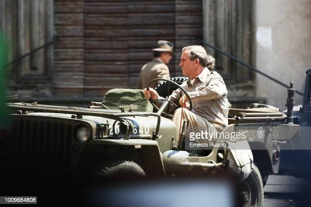 Actor Hugh Laurie is seen during the filming of 'Catch 22' on August 2 in Viterbo Italy