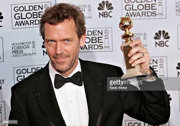 Actor Hugh Laurie poses backstage with his award for Best Actor Drama Series during 63rd Annual Golden Globe Awards at the Beverly Hilton on January...