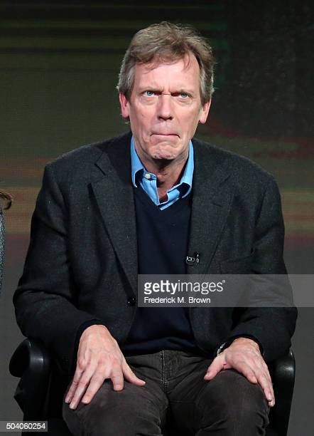 Actor Hugh Laurie speaks onstage during The Night Manager panel as part of the AMC Networks portion of This is Cable 2016 Television Critics...