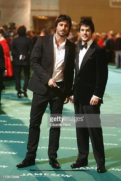 Actor Hugo Silva and Alejo Sauras attend the Goya 2008 Cinema Awards Ceremony at the Palacio de Congresos on Febraury 3 2008 in Madrid Spain