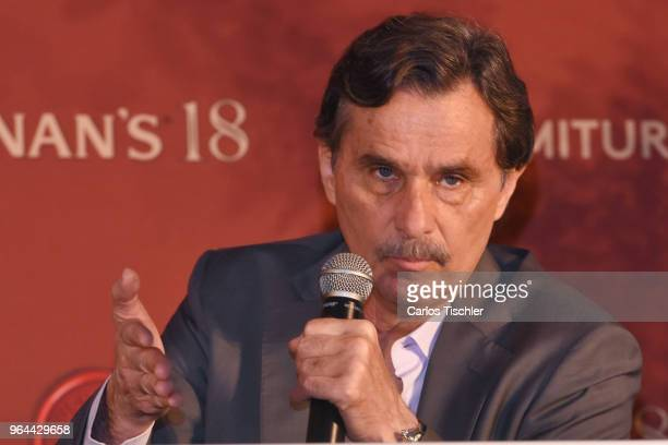 Actor Humberto Zurita speaks during a press conference organized by Buchanan's Whiskey as part of a campaign to celebrate father's day at Hotel...
