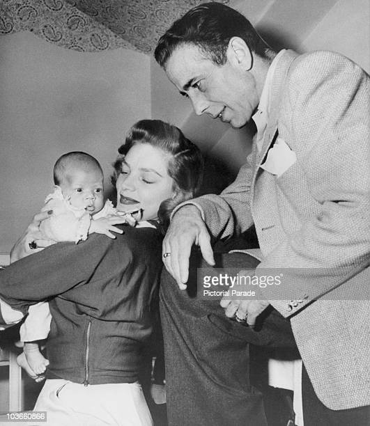 Actor Humphrey Bogart and his wife actress Lauren Bacall pictured with their son Stephen Humphrey Bogart USA circa 1949