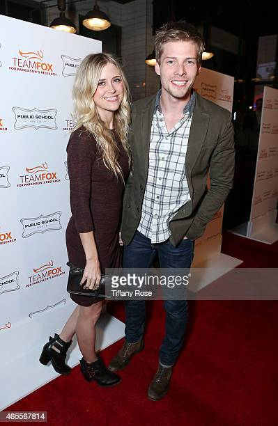 Actor Hunter Parrish and a guest attends Raising The Bar To End Parkinson's at Public School 818 on March 7 2015 in Sherman Oaks California