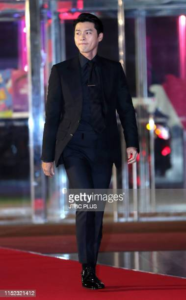 Actor Hyun Bin attends the red carpet event of the 55th Baeksang Arts Awards held at COEX in southern Seoul on May 1 2019 in Seoul South Korea