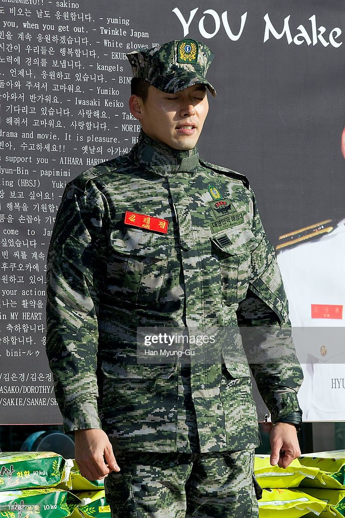 Actor Hyun Bin is seen after being discharged from the military service on December 6, 2012 in Gyeonggi-do, South Korea.
