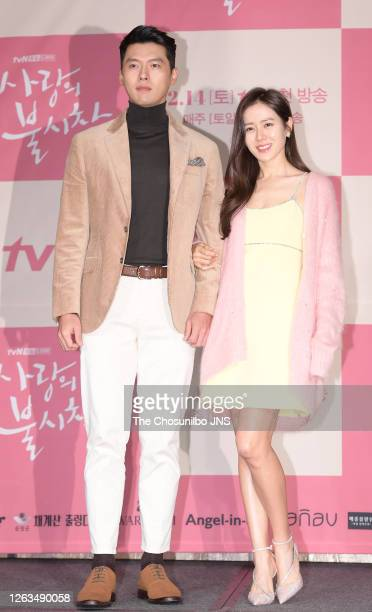Actor Hyun-Bin and actress Son Ye-Jin during a press conference of tvN drama 'Crashing Landing On You' at Four Seasons Hotel on December 09, 2019 in...