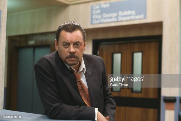 Actor Hywel Bennett pictured on set during the filming of episode 'Life in the Fast Line' of the BBC television series 'Casualty', September 8th 1992.