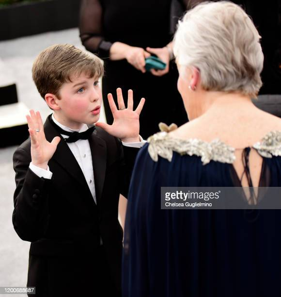 Actor Iain Armitage speaks with Glenn Close at the 26th annual Screen ActorsGuild Awards at The Shrine Auditorium on January 19 2020 in Los Angeles...
