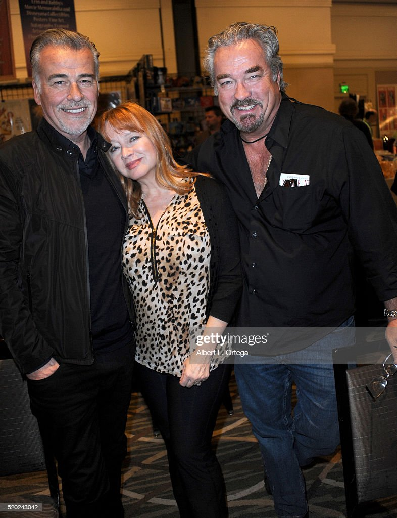 Actor Ian Buchanan, actress Andrea Evans and actor John Callahan at the The Hollywood Show held at Westin LAX Hotel on April 9, 2016 in Los Angeles, California.