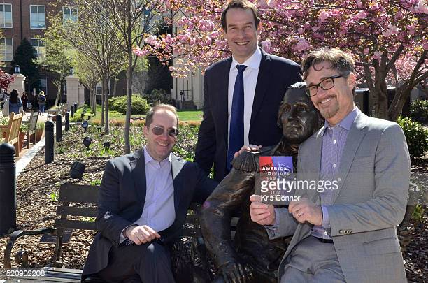 Actor Ian Kahn and executive producers Barry Josephine and Craig Silverstein pose for a photo during the TURN Washington Spies DC Key Art Unveiling...