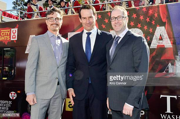 """Actor Ian Kahn and executive producers Barry Josephine and Craig Silverstein pose for a photo during the """"TURN: Washington Spies- DC Key Art..."""