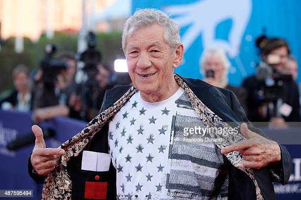 Actor Ian McKellen arrives at the 'Mr Holmes' Premiere during the 41st Deauville American Film Festival on September 10 2015 in Deauville France