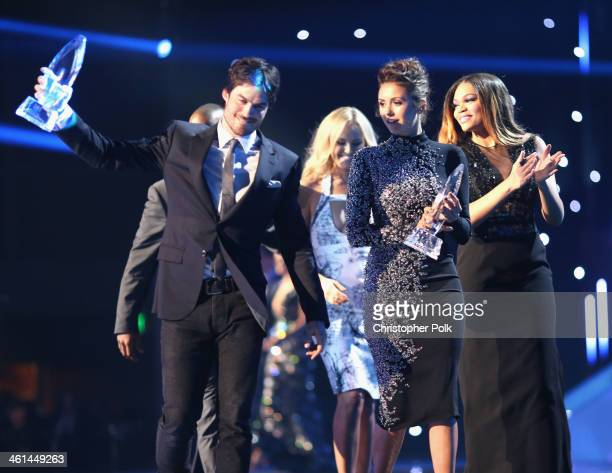Actor Ian Somerhalder actress Malin Akerman and actress Nina Dobrev onstage at The 40th Annual People's Choice Awards at Nokia Theatre LA Live on...