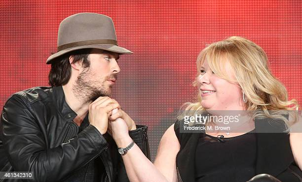 Actor Ian Somerhalder and executive producer Julie Plec speak onstage during the 'The Vampire Diaries' and 'The Originals' panel as part of The CW...