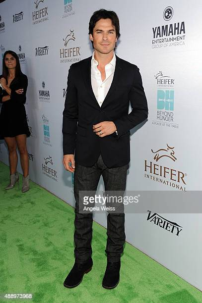 Actor Ian Somerhalder attends Heifer International's 4th Annual Beyond Hunger Gala at the Montage on September 18 2015 in Beverly Hills California...