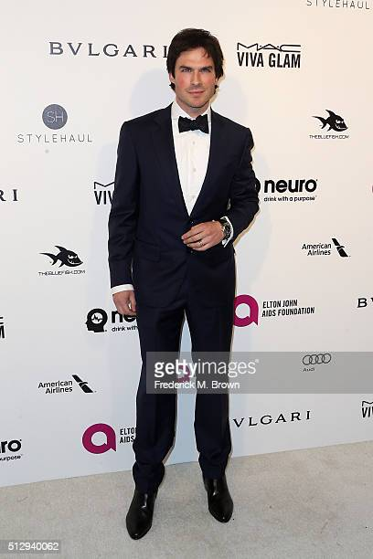 Actor Ian Somerhalder attends the 24th Annual Elton John AIDS Foundation's Oscar Viewing Party on February 28 2016 in West Hollywood California