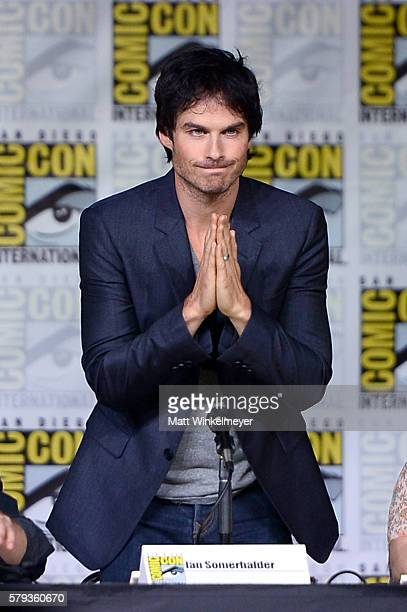 Actor Ian Somerhalder attends the 'The Vampire Diaries' panel during ComicCon International 2016 at San Diego Convention Center on July 23 2016 in...